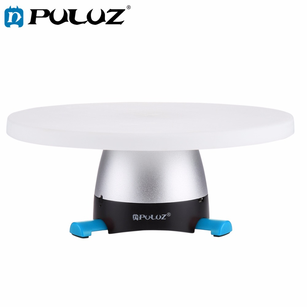 PULUZ Electronic 360 Degree Rotation Panoramic Tripod Head Blue Round Tray with Control Remote for font