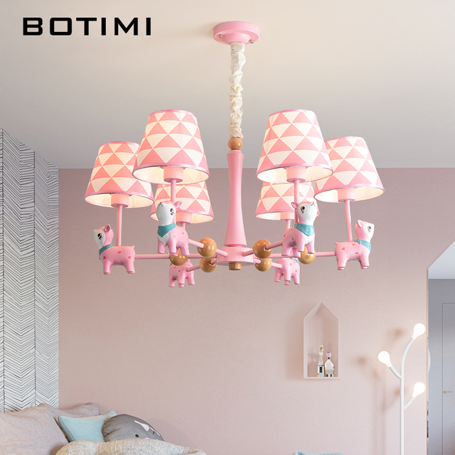 Botimi Led Chandelier For Kids Room Children Re S Res Pink Chandeliers Light Blue Hanging Lights Boys Lighting
