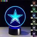 O Envio gratuito de New NFL Dallas Cowboys Logo À Noite Lâmpada Luzes de Cabeceira Criativo 3D Ilusão 7 Cores Mutável Presente de Aniversário