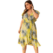 WHZHM Summer Yellow Floral Dress Women Lace Patchwork Beach Short Flare Sleeve Sexy Plus Size 3XL 4XL Flower Deep V-Neck  A-Line