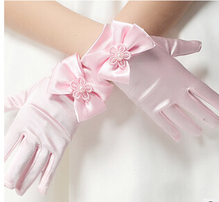 High Quality Elastic girls gloves Girls Satin With Bow Pearl Short Gloves Children Flower Girl gloves Kids gift