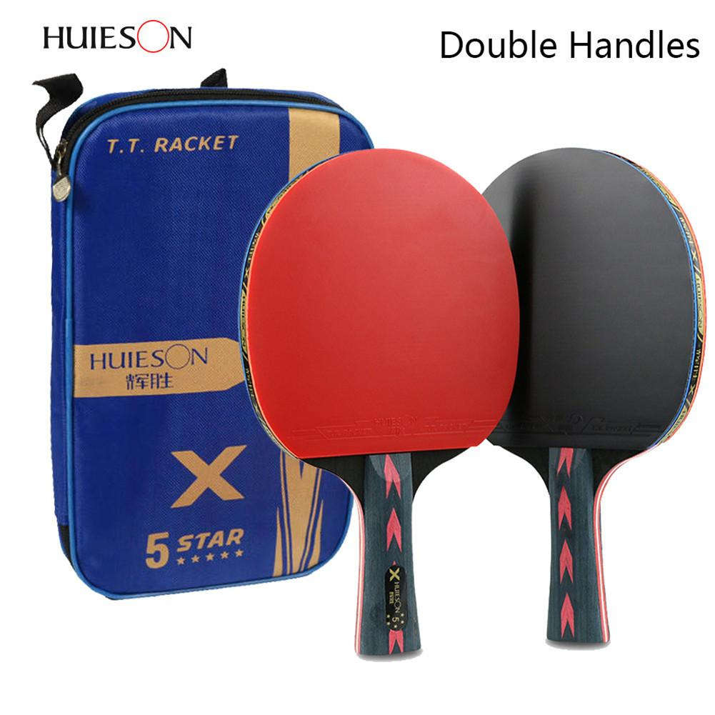 2pcs Upgraded 5 Star Carbon Table Tennis Racket Set Lightweight Powerful Ping Pong Paddle Bat with