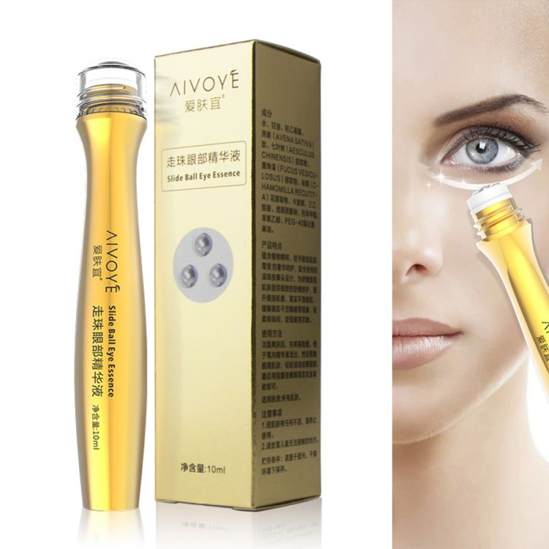 Gold Roll Ball On Eye Cream Anti Aging Dark Circle Essence Crystal Collagen Remove Wrinkles Activating Eye Cream 10ml
