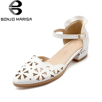 BONJOMARISA 2018 Summer Sweet Hollow Women Sandals Big Size 33 43 Breathable Low Heels Shoes Woman