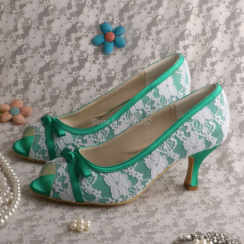 Wedopus MW517 Women's Peep Toe Mid Heel Pumps Bow Green Lace Evening Party Dress Shoes