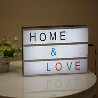 A4 Size LED Combination Light Box Night Lamp DIY BLACK Colorful Letters Cards USB PORT Powered