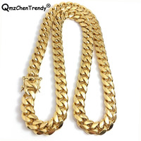 316L Stainless Steel Jewelry High Polished Cuban Link Necklace For Men Punk Curb Chain Dragon Beard Clasp 61cm*15mm