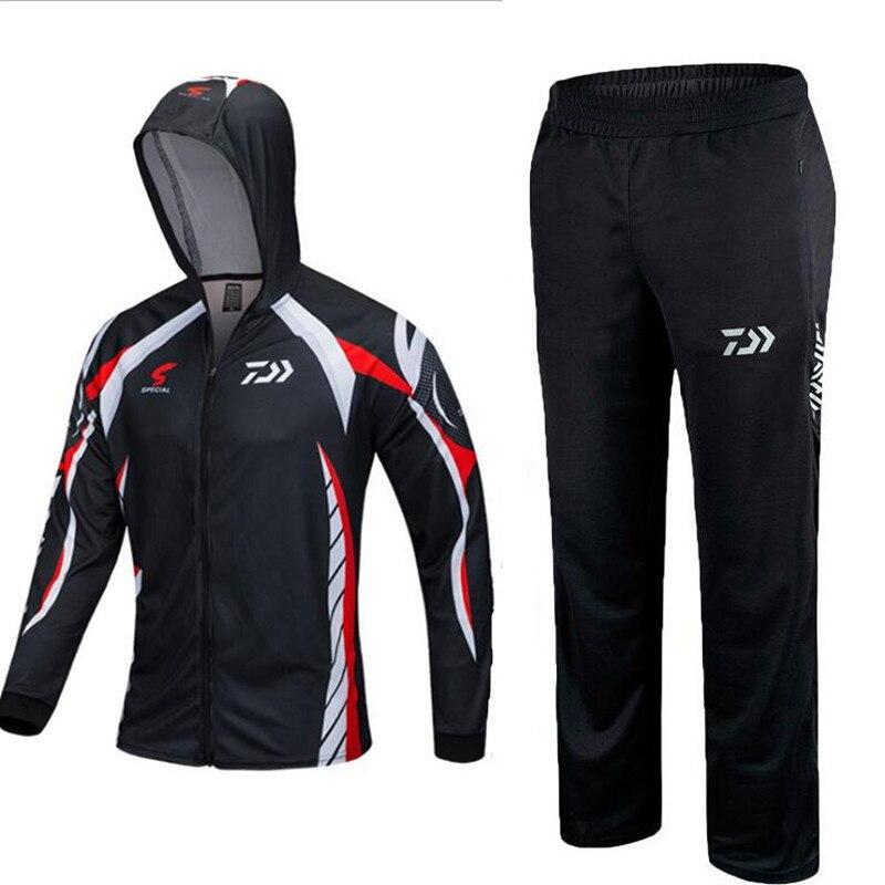 2018 Daiwa ropa de pesca establece hombres transpirable UPF 50 + protección UV al aire libre ropa deportiva verano camisa de pesca Pantalones