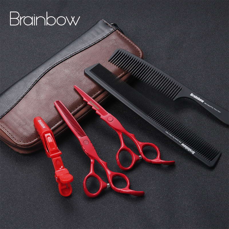 Brainbow 6.0 'Japan Hair Scissors Professional Barber Hairdresser Cutting Thinning Scissors Set Hairdresser Haircut  Cover Capes