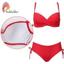 Andzhelika 2018 Plus Size Bikini Set Solid Swimsuit Halter Bikini Summer Beach Wear Cross Straps Swimwear Mid Waist Bathing Suit