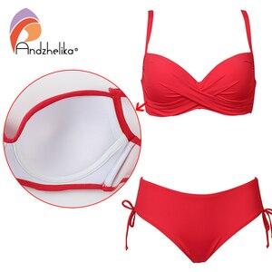 Image 2 - Andzhelika 2020 artı boyutu Bikini seti katı mayo Halter Bikini yaz plaj giyim çapraz sapanlar mayo orta bel mayo
