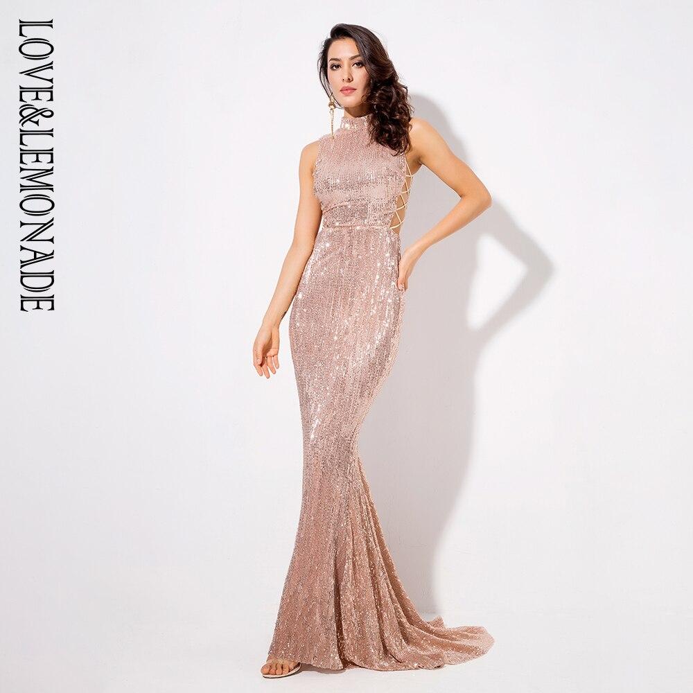 Love Lemonade Champagne Collar Side Cut Out Fishtail Slim Elastic Sequins Long Dress LM1152