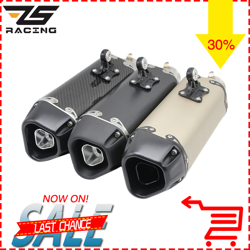 ZS Racing Universal Real Carbon Motorcycle Exhaust Aarapovic Modified Scooter Exhaust Mu ...