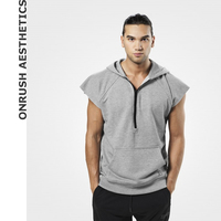 OA Muscle Men's Fashion New Fitness Workout Short Sleeves Hooded Sweatshirts Bodybuilding Casual Breathable Pullover Tops