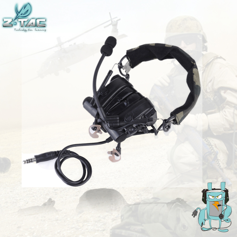 Z-TAC Military Combat ZComtac IV In-Ear Tactical Noise Canceling Aviation Headset For Walkie Talkie Z038