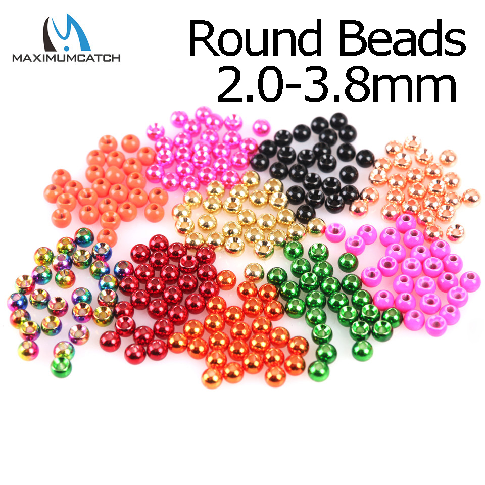 Maximumcatch 25pcs/lot 2.0-4.6mm Fly Tying Tungsten Beads Round Nymph Head Ball Fly Tying Material 18 Different Colors