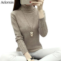 2017 Winter Women Turtleneck Sweaters And Pullovers Long Sleeve Candy Color Girl Sweater Thick Warm Soft