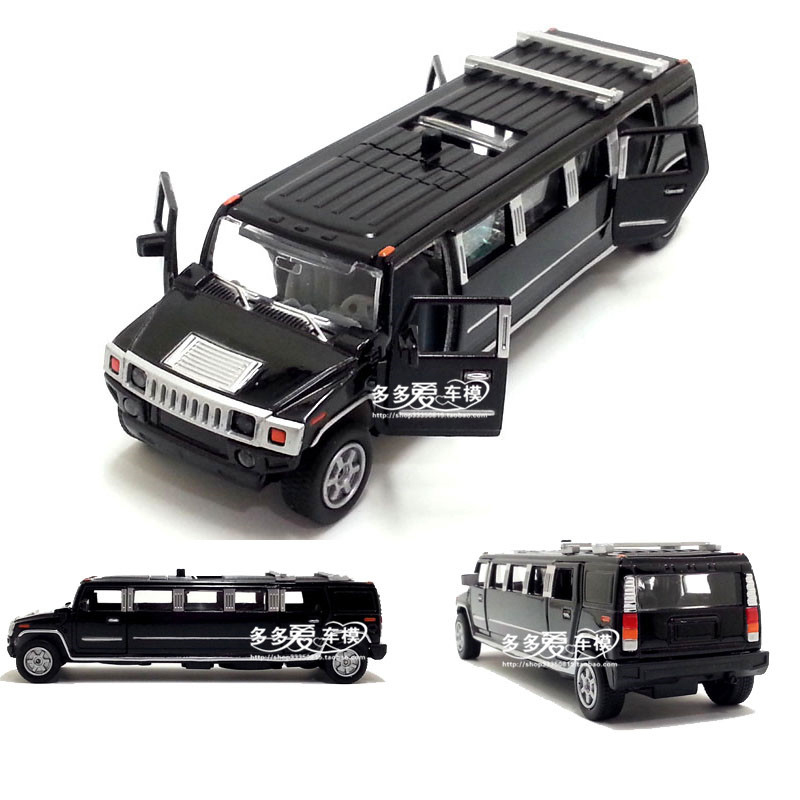 1:32 Scale Hummer Limousine Luxury Alloy Metal Diecast Car Model With Pull Back Sound Light Collection For Kids Toys