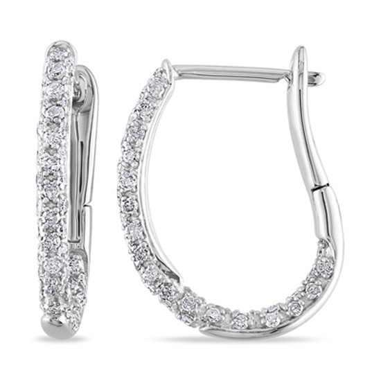1/2 ct круглая огранка природных алмазов матерчатые Хооп Серьги в 10 К белого золота