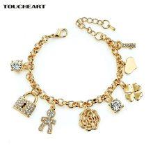 Женский браслет с подвесками toucheart регулируемый золотого