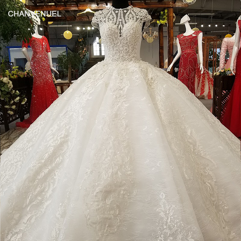 Wedding Gown Wholesalers: LS65309 Wholesale Luxury Gown Dress O Neck Cap Sleeve Lace