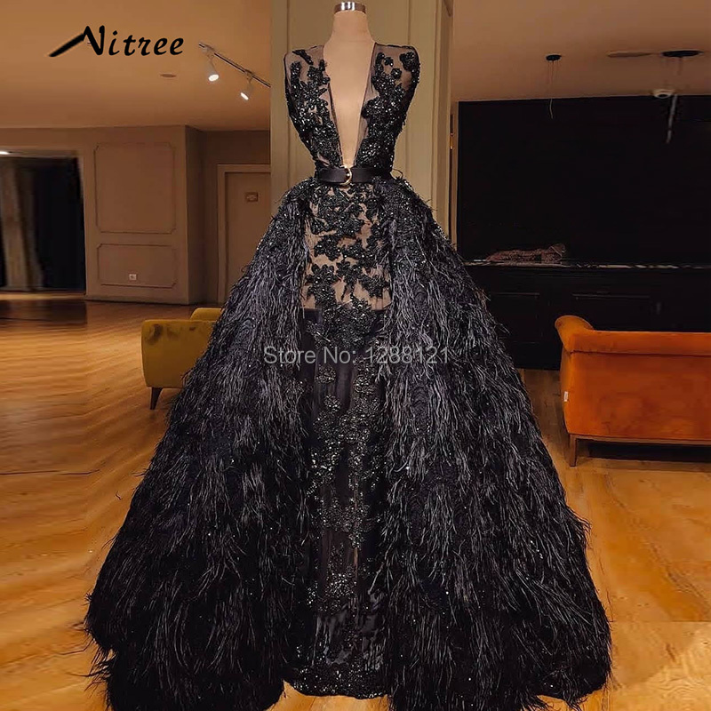 Arabic Black Feathers Evening Dresses 2018 Turkish Dubai Muslim ...