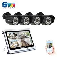 4CH AHD 12 Pouce LCD DVR Système de Caméra de Sécurité 1080 P HD 48 IR Intempéries CCTV Extérieur Caméra Home Video Surveillance Kit