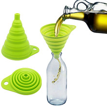 New Arrival Mini Silicone Gel Foldable Collapsible Style Funnel Hopper Practical Kitchen Tool(China)