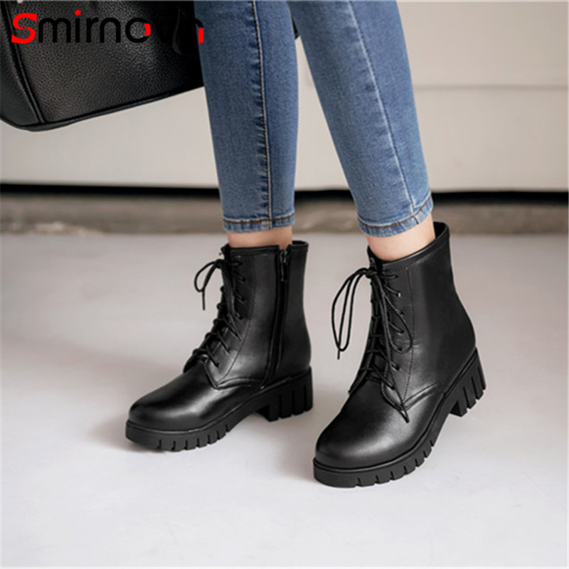 Smirnova winter fashion 2018 big size pu leather woman boots casual lace up platform boots round toe thick heels ankle boots