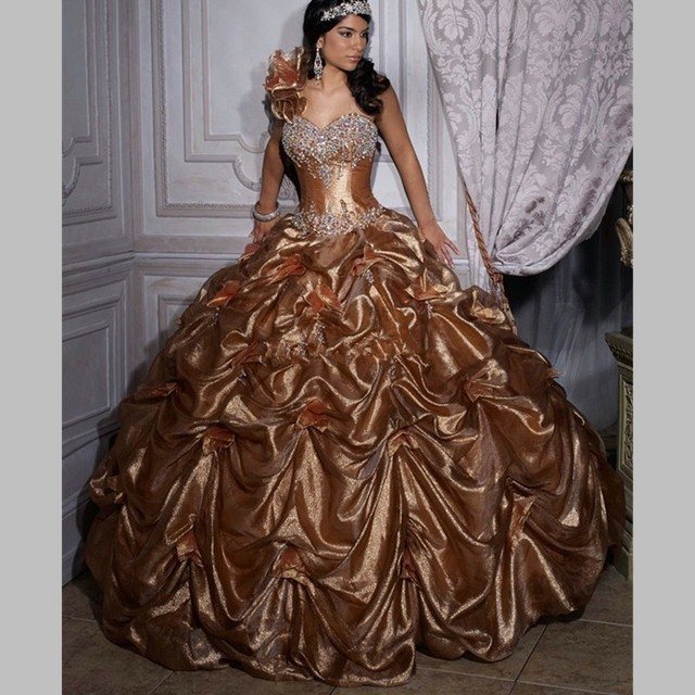 Old Gold One Shoulder Quinceanera Dress Ball Gowns 2016 Pick Up ...