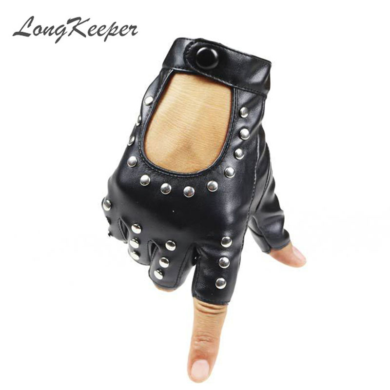 LongKeeper Women Rivets PU Läderhandskar Semi-Finger Mens Rivet Belt PU Handskar Sexy Cutout Fingerless Gloves G221
