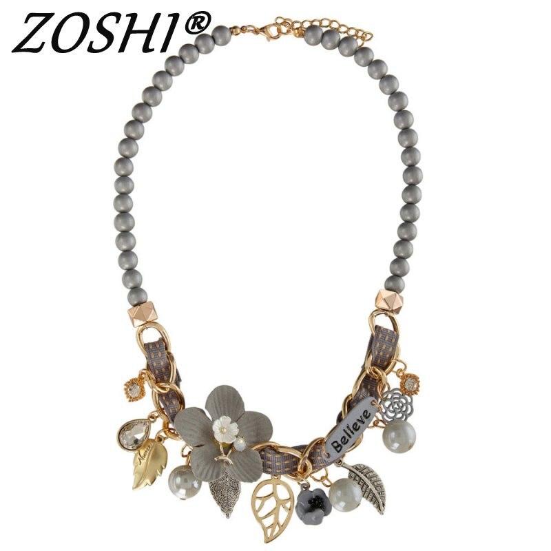 2019 nouveau collier de mode collier fleur colliers et pendentifs à la mode tour de cou grosse chaîne en métal déclaration collier de perles simulées 1
