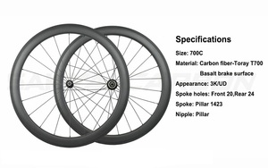 Image 2 - Roues tubulaires en carbone 700C à 250 degrés de bicyclette de route, 38mm 50mm 60mm 88mm, avec moyeu Novatec 291 482
