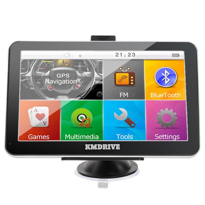KMDRIVE 7 inch Sat Navigator Car GPS Navigation Bluetooth AV IN 800MHZ FM Transmitter 8GB bundle