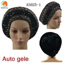 AS025 Queency Asooke дизайн африканские женские свадебные Авто геле уже сделанные головы обернуть разноцветные бусы и камни DHL
