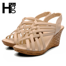 HEE GRAND 2017 Hot Elegant Sandals For Woman Women's High Platforms Cut Outs Pattern Checkered Belt Gladiator Sandal XWZ275