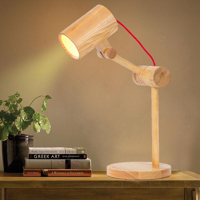 L mparas de mesa de madera moderna de estilo r stico luz del escritorio de madera libro creativo - Lamparas estilo rustico ...