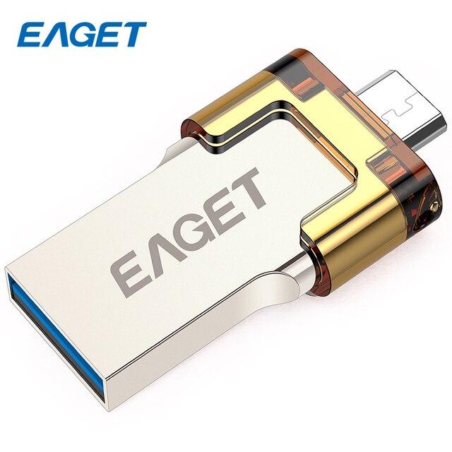 Eaget v80 64 gb de metal usb otg unidade flash de 3.0 16 gb 32 GB 64 GB Pen Drive Pendrives com Criptografia OTG para Android smartphones
