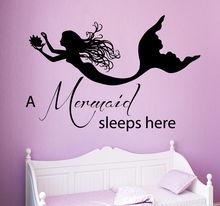 Nursery Wall Decal Removable Vinyl Sticker Mermaid Sleeps Here Quote Girls Room Kids Decoration AY383