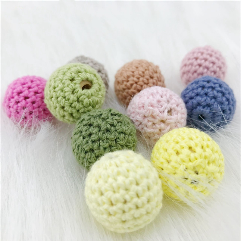 20mm 5pcs Baby Natural Round Wooden Mix Color Crochet Beads Teether DIY Jewelry