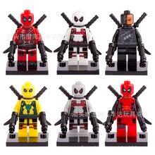 NEW hot 6 pçs/set Deadpool Super hero Figuras de Ação Blocos Tijolos brinquedos No box