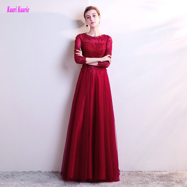 Fashion Burgundy Evening Dresses Long 2018 Sexy Plus Size Casual Evening  Gowns O-Neck Tulle Appliques Beading Lady Formal Dress ec90f23a12fa