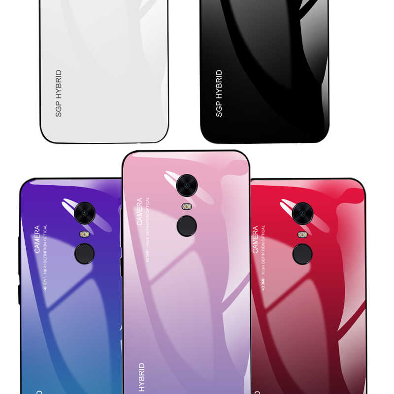 For Xiaomi Redmi note 4X 4 5A 5 6 7 pro Gradient Phone Case Coque Capa Tempered Glass For Xiaomi Redmi 6A 5 Plus Fashion Shell