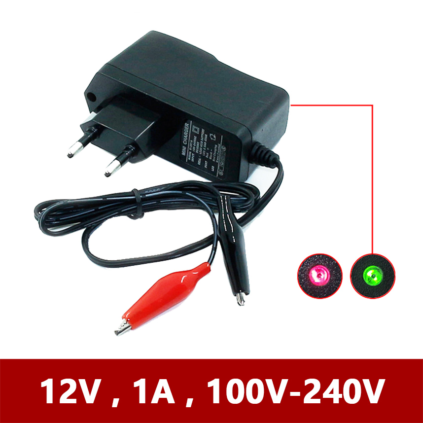 <font><b>12V</b></font> 1000ma Smart <font><b>Lead</b></font> <font><b>Acid</b></font> AGM GEL <font><b>Battery</b></font> Charger for Car Motorcycle DC 12 V Volt 1A 220V Motor 4ah <font><b>7ah</b></font> 10ah 12ah 20ah Moto EU image