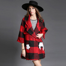 2016 new fall winter ladies's Europe crimson and black Plaid wool cropped sleeves embroidered woolen material cloak wool coat ladies