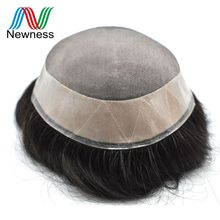 NEWNESS Mono NPU Toupee 100% Remy Human Hair System Durable Men Hairpieces Men Wig For Programmer Baldness(China)
