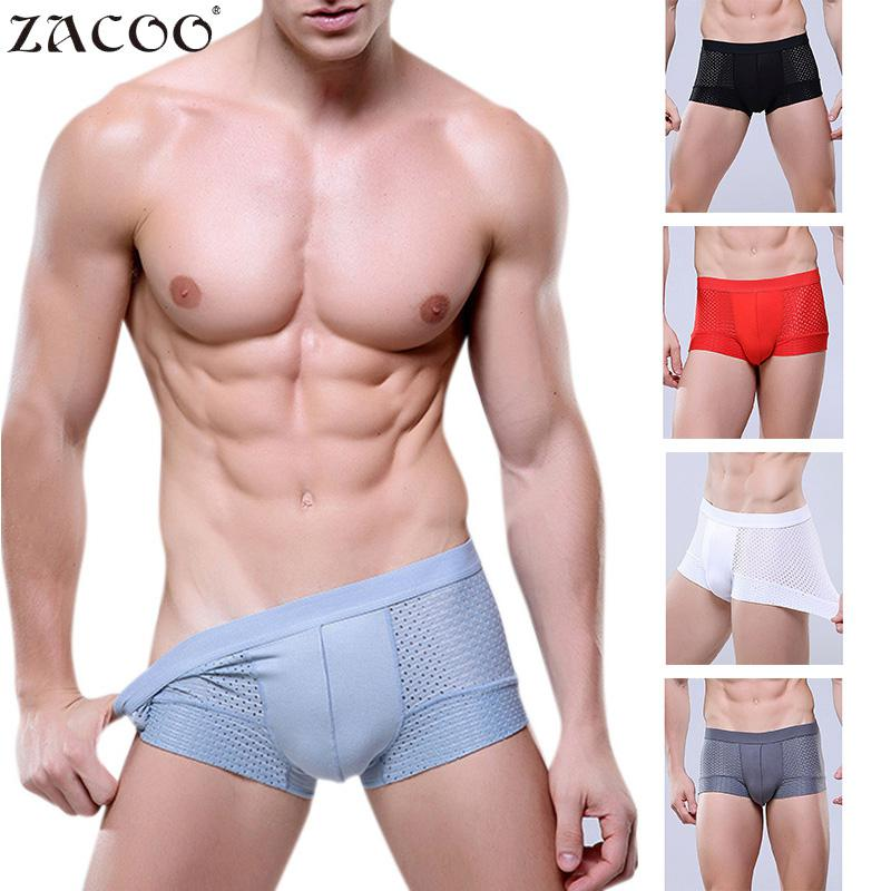Underpants Boxers Sexy Breathable Men's Hollow Solid Soft SI0 Quik-Drying