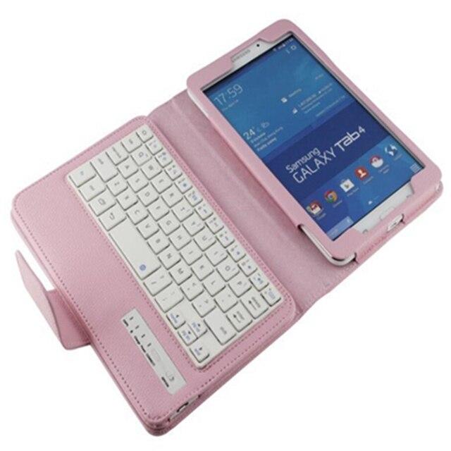Высокое качество Беспроводная Bluetooth Клавиатура PU Кожаный Чехол Крышка Подставка для Samsung Galaxy Tab 4 7.0 7,0-дюймовый T230 T231 T235 таблетки