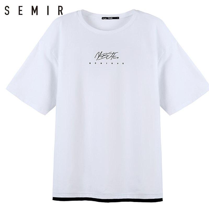 SEMIR T-shirt mann 2018 sommer kurzarm lose Oansatz halbe hülse kleidung mann handsome T-shirt gefälschte zwei stücke männliche Tuch