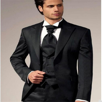 new men suits Classic black fashion men suits (suit) comfortable custom tailored three-piece suit vest and trousers